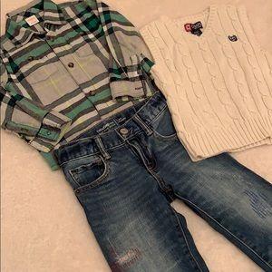 BUNDLED toddler boy jeans&vest 4T, plaid shirt 3T
